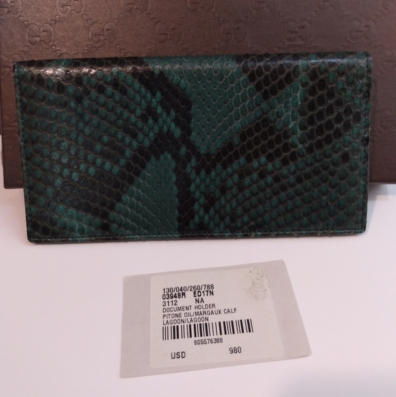 Gucci Handbags - Gucci Python Snakeskin Long Wallet